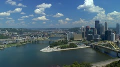 Downtown Pittsburgh skyline seen from Mt. Washington Stock Footage