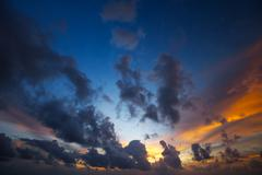 view of a spectacular sunset sky - stock photo