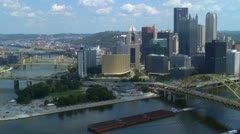 Downtown Pittsburgh skyline and Point State Park area Stock Footage