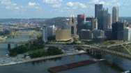 Stock Video Footage of Downtown Pittsburgh skyline and Point State Park area