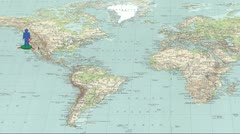 Global networking on physical map - stock footage