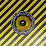 stylish metallic loudspeaker. square composition in high resolution. - stock photo