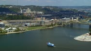 Stock Video Footage of Tourist riverboat cruising around three rivers area in Pittsburgh