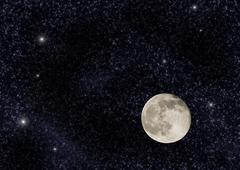 near full moon on a large star field - stock photo