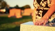 Woman Visits Grave in Cemetery 2663 Stock Footage