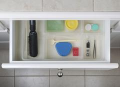 Organized bathroom drawer Stock Photos