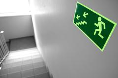 Emergency exit & staircase in wokplace Stock Photos