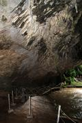 river and tham nam lod cave - stock photo