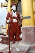statue near temple - stock photo