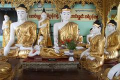 buddhas in temple - stock photo
