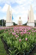 flowers and democracy monument - stock photo