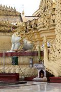 lion and stupa - stock photo