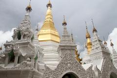 stupas in shwe dagon paya - stock photo