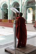 monk tourist - stock photo