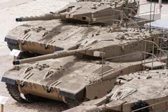 Israeli merkava tank  in latrun armored corps museum Stock Photos