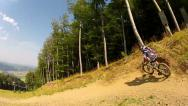 Downhill Mountain Bike Race Track Drive By 1 Stock Footage