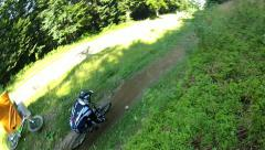 Downhill Mountain Bike Drive By Top View Stock Footage