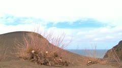 Stock Video Footage of Time lapse, extinct landscape, Azores Island, Capelinhos volcano