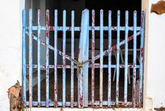 Old used blue fence Stock Photos