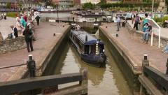 Timelapse of canal boat leaving lock at stratford upon avon Stock Footage