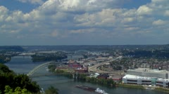 Pittsburgh skyline looking west down Ohio river from Mt. Washington Stock Footage