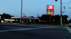 Expensive gas at night Speedway shot Stock Footage