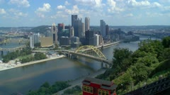 Duquesne Incline with downtown Pittsburgh skyline in background Stock Footage