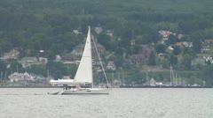 Sail boat near shore Stock Footage