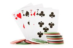 Cards and chips for poker Stock Photos