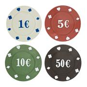 four poker chips isolated on white - stock photo