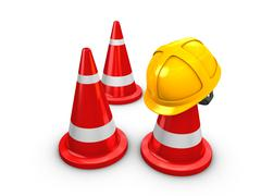 safety yellow hat and cones - stock illustration