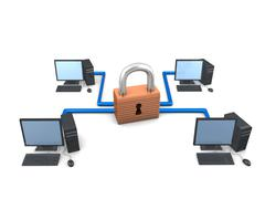 secure network - stock illustration