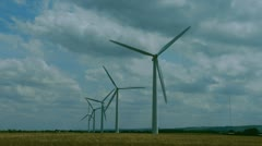5 Turbine wind farm in Wiltshire, UK. - stock footage