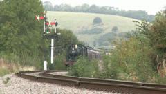 Vintage Steam Train on a Sharp Curve. HD Stock Footage