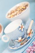 Healthy nutrition with fresh milk and muesli. Stock Photos
