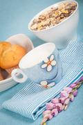 healthy nutrition with fresh milk and muesli. - stock photo