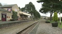 Vintage Steam Train Black Prince Arriving at Station Stock Footage