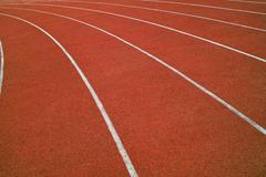 Athletics running track Stock Photos