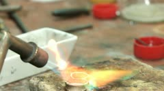 Melting dowm metal in a Jewelry Stock Footage
