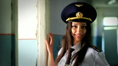 Beautiful girl posing for the camera in clothing cadet. 10. - stock footage