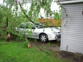 Stock Video Footage of Storm Damaged Car