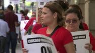 Protesting, Chicago teachers on strike Stock Footage