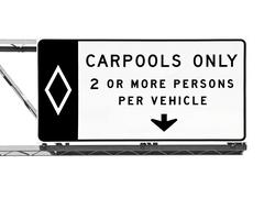 Overhead freeway carpool only sign isolated Stock Photos