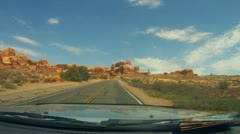 Arches National Monument road scenes driver POV - 8 Stock Footage