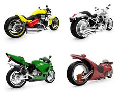 isolated collection of bikes over white background - stock illustration
