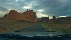 Arches National Monument road scenes driver POV - 3 Stock Footage