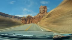 Arches National Monument road scenes driver POV in time lapse - 11 Stock Footage