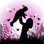 Happy family, mother and child Stock Illustration