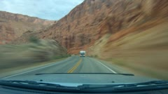 Arches National Monument road scenes driver POV in time lapse - 9 Stock Footage