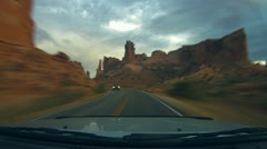 Arches National Monument road scenes driver POV in time lapse - 2 Stock Footage